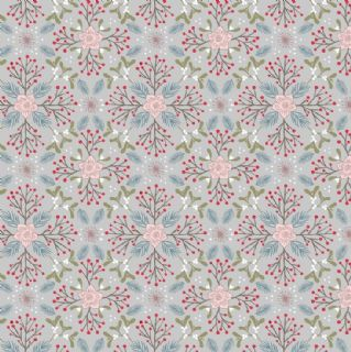 Lewis & Irene - Winter in Bluebell Wood - 6695 -  Winter Floral on Grey - C45.2 - Cotton Fabric